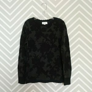 Elle black metallic silver floral sweater